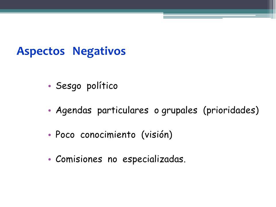 Aspectos Negativos Sesgo político Agendas particulares o grupales (prioridades) Poco conocimiento (visión) Comisiones no especializadas.