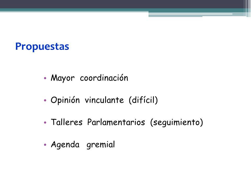 Propuestas Mayor coordinación Opinión vinculante (difícil) Talleres Parlamentarios (seguimiento) Agenda gremial