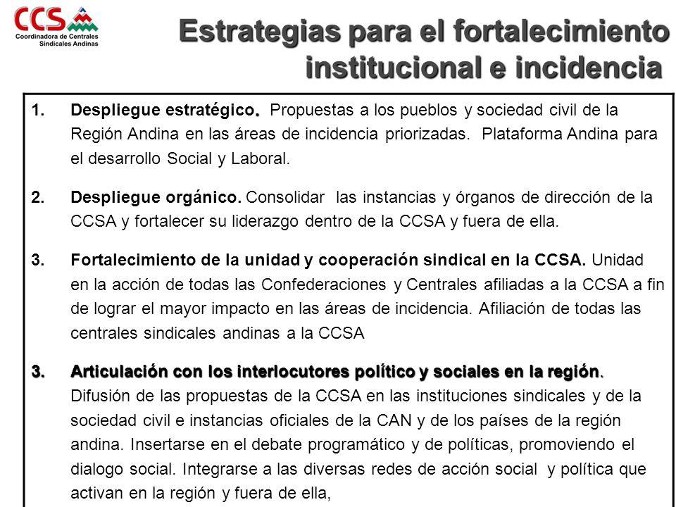 . 1.Despliegue estratégico. Propuestas a los pueblos y sociedad civil de la Región Andina en las áreas de incidencia priorizadas. Plataforma Andina pa