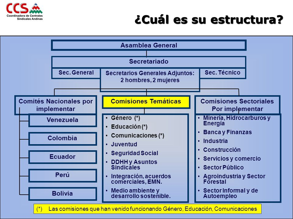 ¿Cuál es su estructura? Asamblea General Secretariado Sec. General Secretarios Generales Adjuntos: 2 hombres, 2 mujeres Sec. Técnico Comisiones Temáti