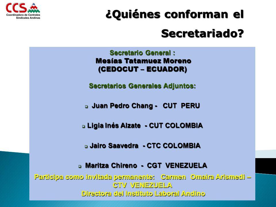 Secretario General : Mesías Tatamuez Moreno Mesías Tatamuez Moreno (CEDOCUT – ECUADOR) Secretarios Generales Adjuntos: Juan Pedro Chang - CUT PERU Jua