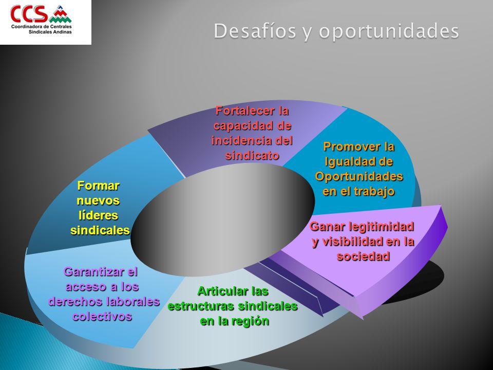 Promover la Igualdad de Oportunidades en el trabajo Fortalecer la capacidad de incidencia del sindicato Formar nuevos líderes sindicales Garantizar el