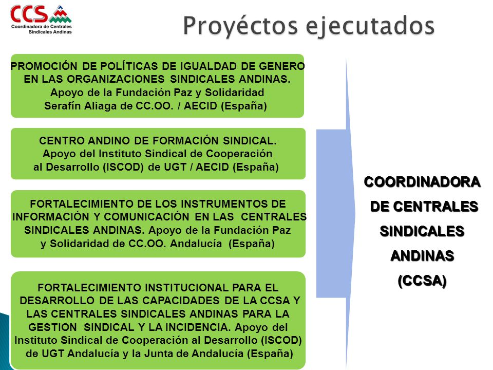 COORDINADORA DE CENTRALES SINDICALES ANDINAS (CCSA) PROMOCIÓN DE POLÍTICAS DE IGUALDAD DE GENERO EN LAS ORGANIZACIONES SINDICALES ANDINAS. Apoyo de la
