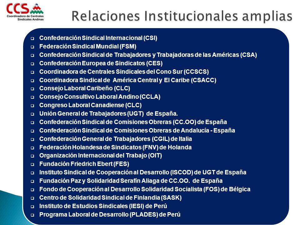 Relaciones Institucionales amplias Confederación Sindical Internacional (CSI) Federación Sindical Mundial (FSM) Confederación Sindical de Trabajadores