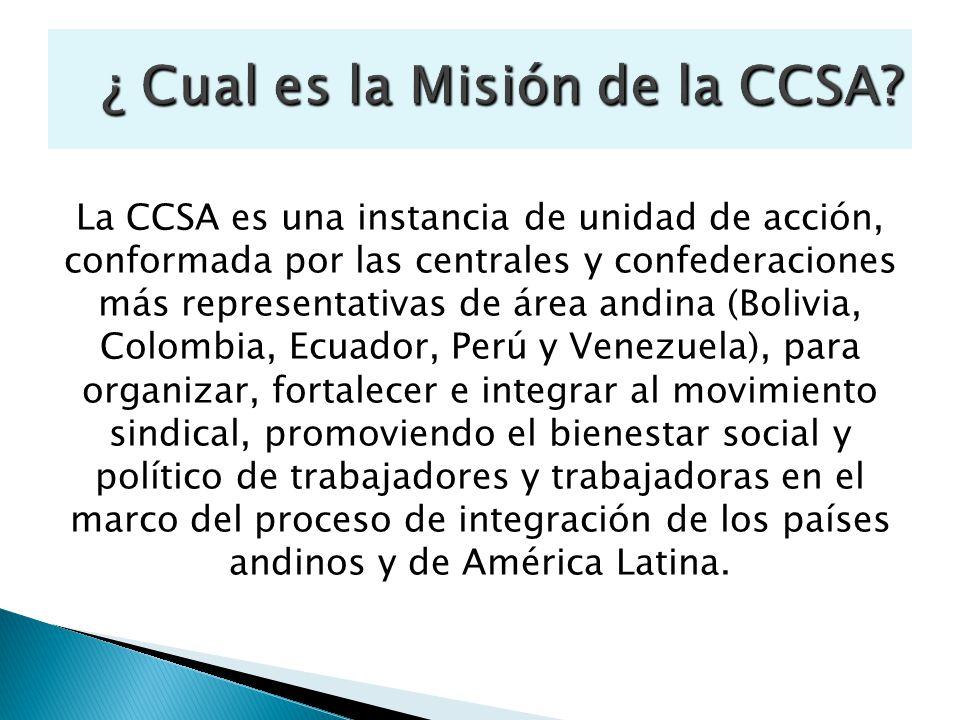 La CCSA es una instancia de unidad de acción, conformada por las centrales y confederaciones más representativas de área andina (Bolivia, Colombia, Ec