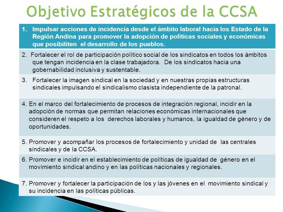 1.Impulsar acciones de incidencia desde el ámbito laboral hacia los Estado de la Región Andina para promover la adopción de políticas sociales y econó