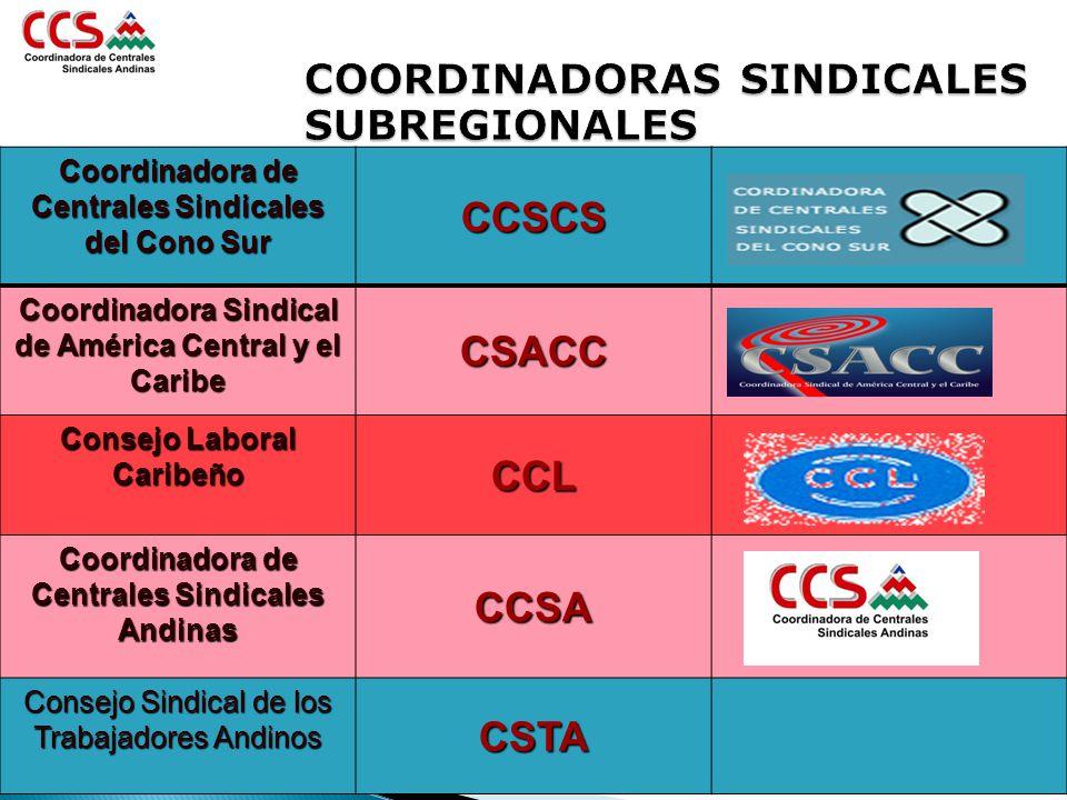 COORDINADORAS SINDICALES SUBREGIONALES Coordinadora de Centrales Sindicales del Cono Sur CCSCS Coordinadora Sindical de América Central y el Caribe CS