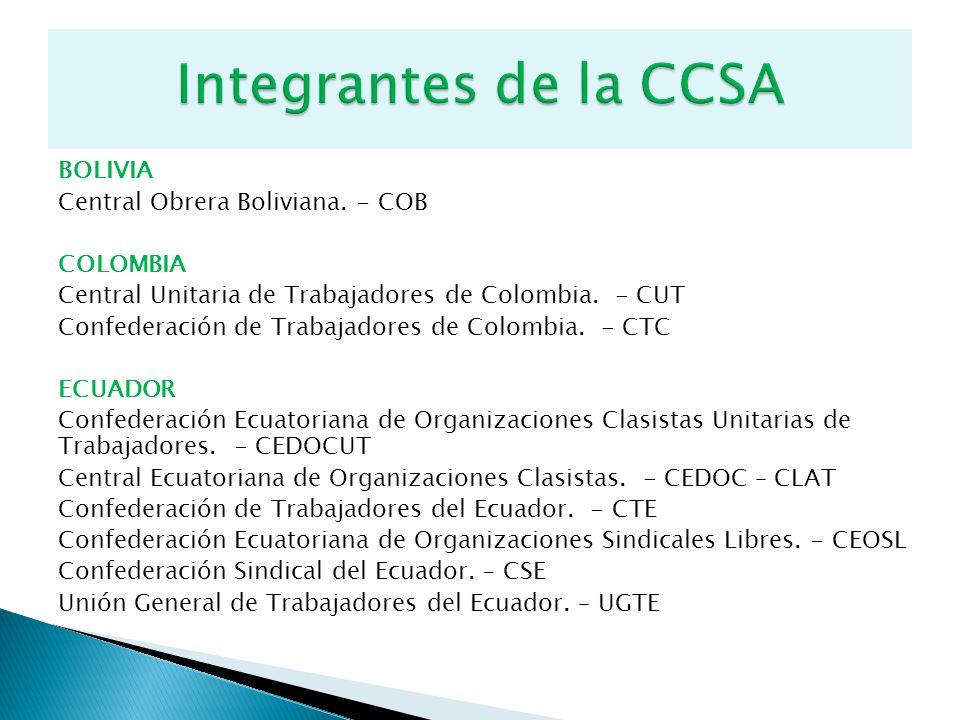 BOLIVIA Central Obrera Boliviana. - COB COLOMBIA Central Unitaria de Trabajadores de Colombia. - CUT Confederación de Trabajadores de Colombia. - CTC