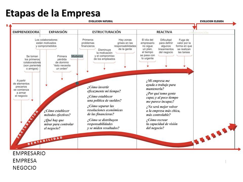 EMPRENDEDORAEXPANSIÓNESTRUCTURACIÓNREACTIVA CONSOLIDACIÓN EMPRESARIO EMPRESA NEGOCIO Etapas de la Empresa