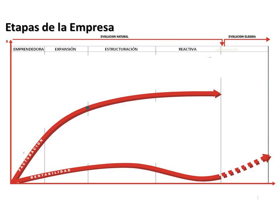 EMPRENDEDORAEXPANSIÓNESTRUCTURACIÓNREACTIVA CONSOLIDACIÓN Etapas de la Empresa