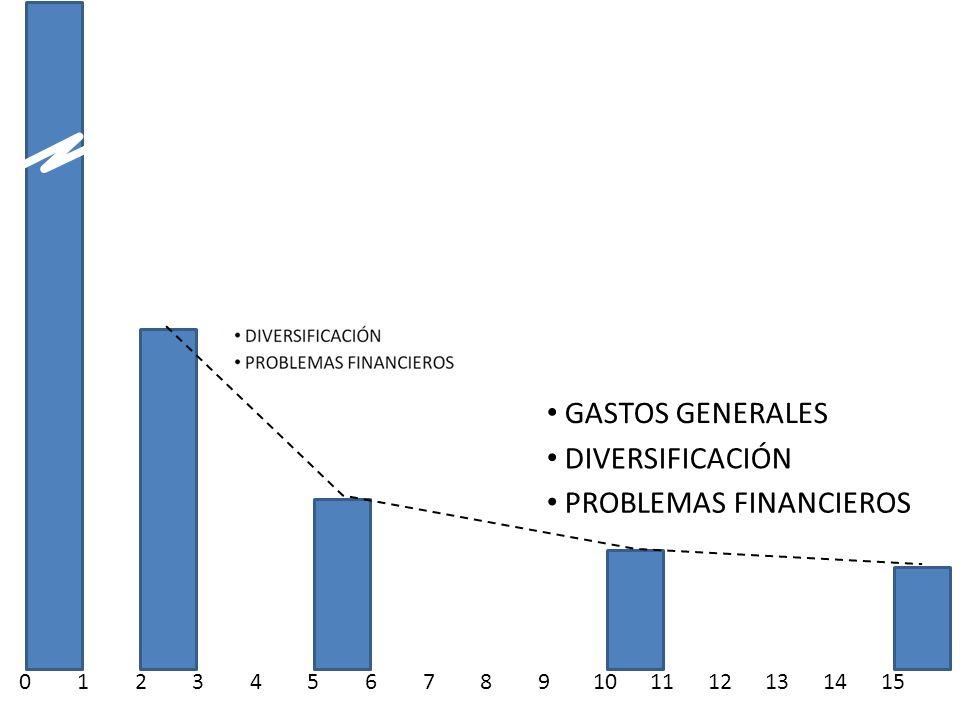 DIVERSIFICACIÓN PROBLEMAS FINANCIEROS GASTOS GENERALES 0123456789101112131415