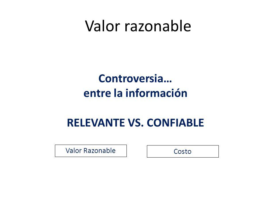 Valor razonable Controversia… entre la información RELEVANTE VS. CONFIABLE Valor Razonable Costo
