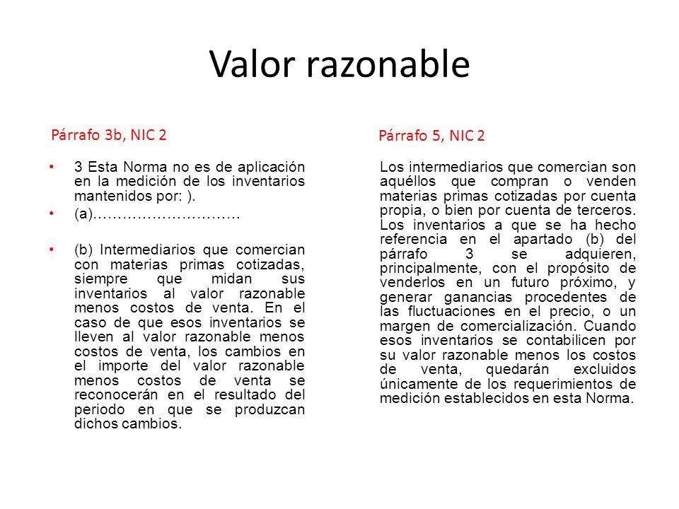 Valor razonable 3 Esta Norma no es de aplicación en la medición de los inventarios mantenidos por: ). (a)………………………… (b) Intermediarios que comercian c