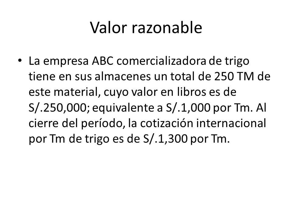 Valor razonable La empresa ABC comercializadora de trigo tiene en sus almacenes un total de 250 TM de este material, cuyo valor en libros es de S/.250