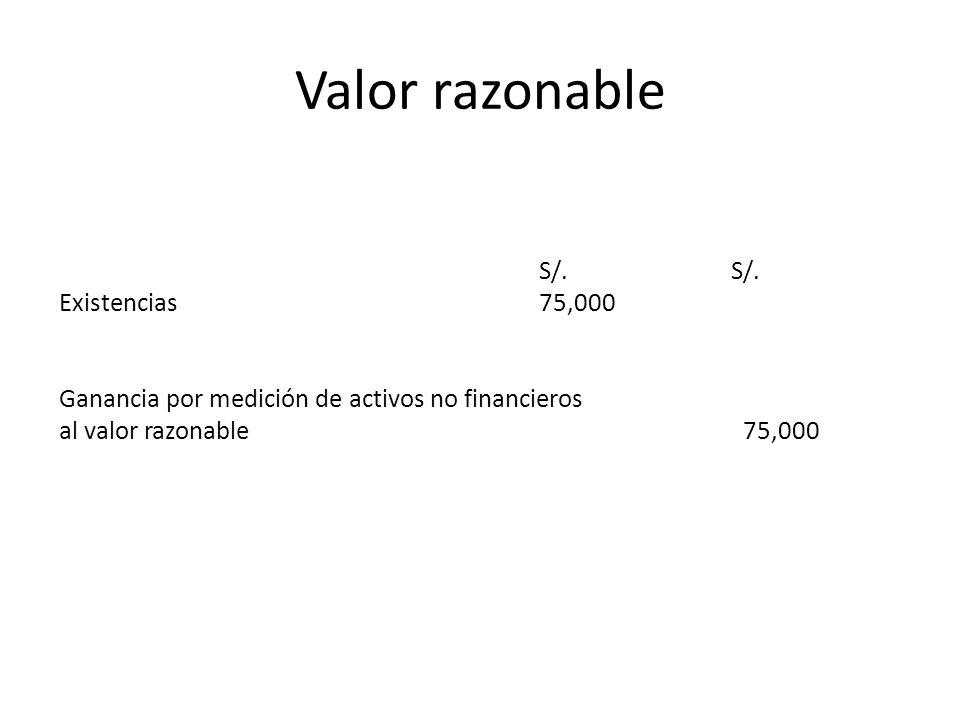 Valor razonable S/. Existencias75,000 Ganancia por medición de activos no financieros al valor razonable 75,000