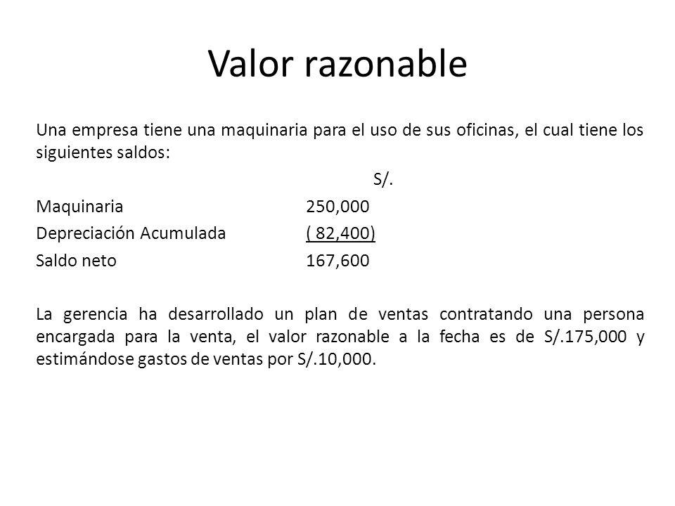 Valor razonable Una empresa tiene una maquinaria para el uso de sus oficinas, el cual tiene los siguientes saldos: S/. Maquinaria250,000 Depreciación