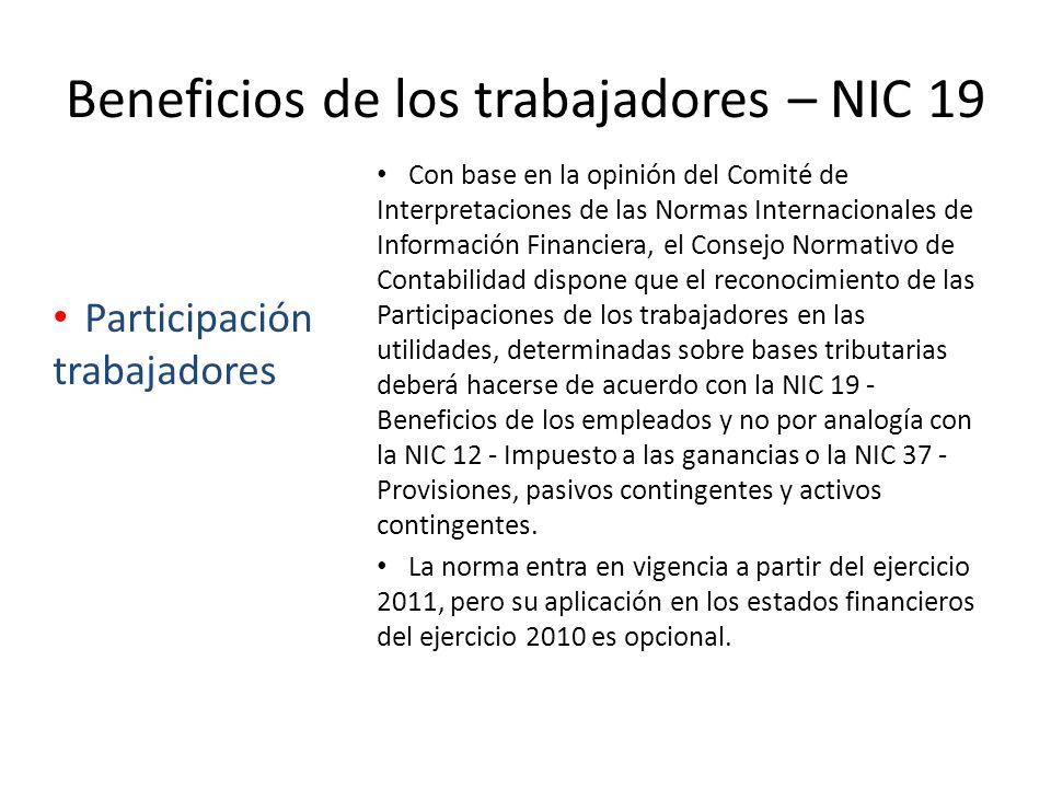 Beneficios de los trabajadores – NIC 19 Con base en la opinión del Comité de Interpretaciones de las Normas Internacionales de Información Financiera,