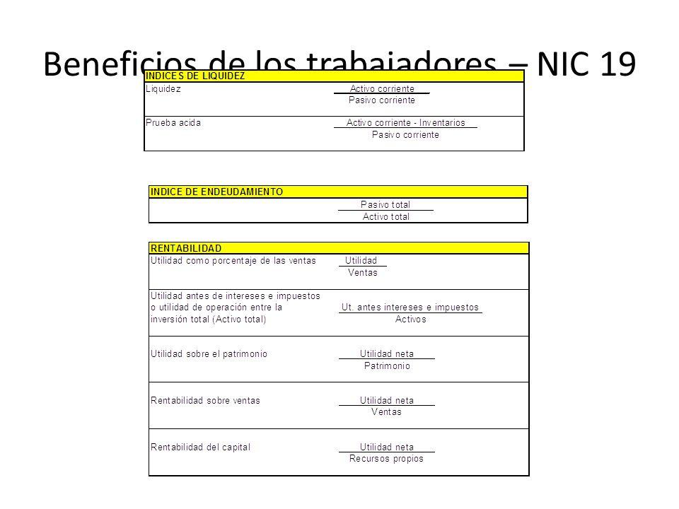 Beneficios de los trabajadores – NIC 19