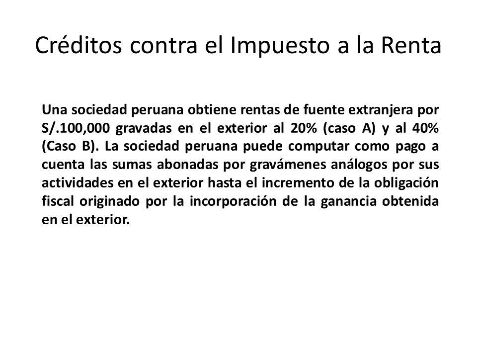 Créditos contra el Impuesto a la Renta Una sociedad peruana obtiene rentas de fuente extranjera por S/.100,000 gravadas en el exterior al 20% (caso A)