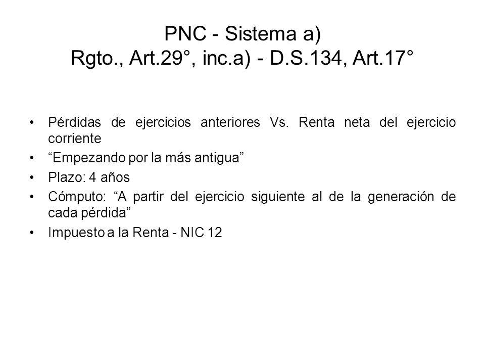 PNC - Sistema a) Rgto., Art.29°, inc.a) - D.S.134, Art.17° Pérdidas de ejercicios anteriores Vs. Renta neta del ejercicio corriente Empezando por la m