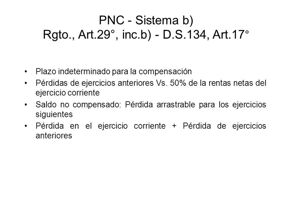 PNC - Sistema b) Rgto., Art.29°, inc.b) - D.S.134, Art.17 ° Plazo indeterminado para la compensación Pérdidas de ejercicios anteriores Vs. 50% de la r