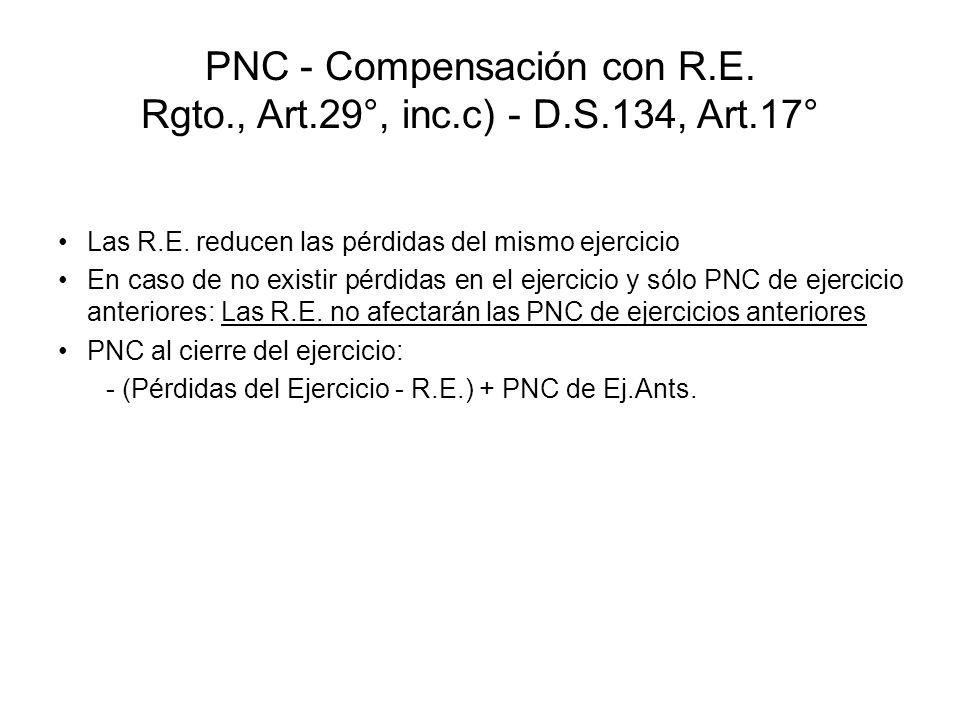 PNC - Compensación con R.E. Rgto., Art.29°, inc.c) - D.S.134, Art.17° Las R.E. reducen las pérdidas del mismo ejercicio En caso de no existir pérdidas