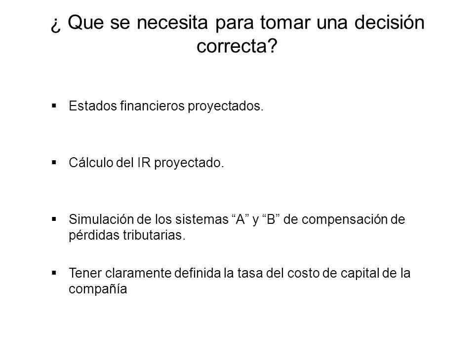 ¿ Que se necesita para tomar una decisión correcta? Estados financieros proyectados. Cálculo del IR proyectado. Simulación de los sistemas A y B de co