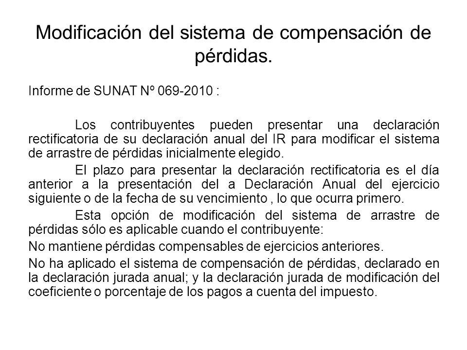 Modificación del sistema de compensación de pérdidas. Informe de SUNAT Nº 069-2010 : Los contribuyentes pueden presentar una declaración rectificatori