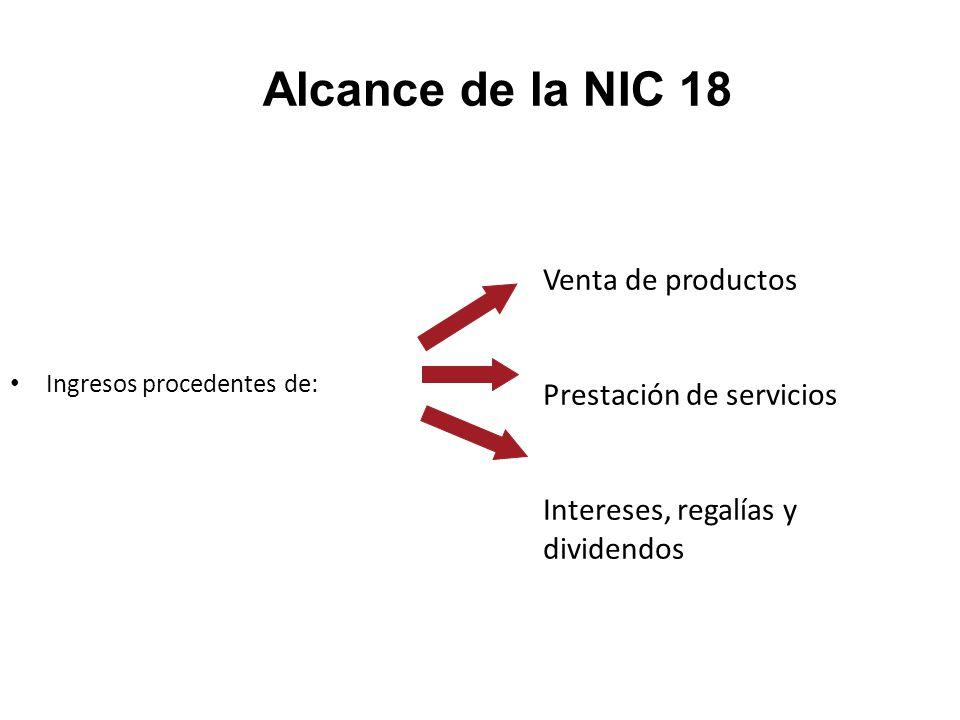 Alcance de la NIC 18 Ingresos procedentes de: Venta de productos Prestación de servicios Intereses, regalías y dividendos