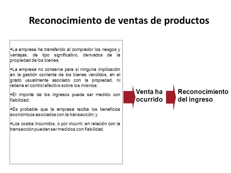 La empresa ha transferido al comprador los riesgos y ventajas, de tipo significativo, derivados de la propiedad de los bienes; La empresa no conserva