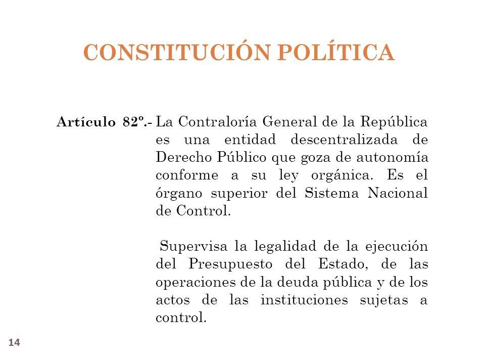 CONSTITUCIÓN POLÍTICA La Contraloría General de la República es una entidad descentralizada de Derecho Público que goza de autonomía conforme a su ley orgánica.