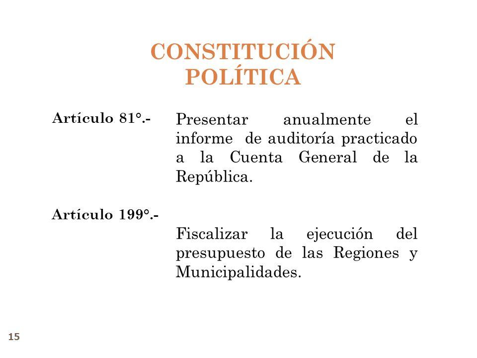 CONSTITUCIÓN POLÍTICA Artículo 81°.- Artículo 199°.- Presentar anualmente el informe de auditoría practicado a la Cuenta General de la República. Fisc