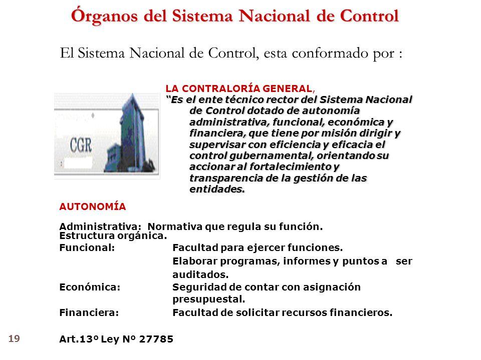 19 El Sistema Nacional de Control, esta conformado por : Órganos del Sistema Nacional de Control LA CONTRALORÍA GENERAL, Es el ente técnico rector del