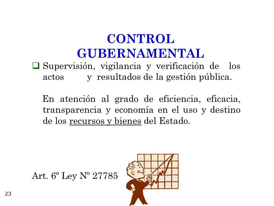 23 CONTROL GUBERNAMENTAL Supervisión, vigilancia y verificación de los actos y resultados de la gestión pública. En atención al grado de eficiencia, e