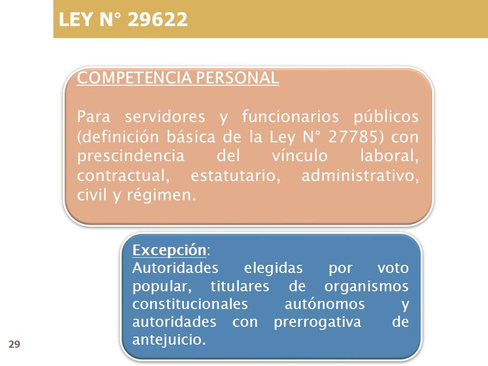 LEY N° 29622 COMPETENCIA PERSONAL Para servidores y funcionarios públicos (definición básica de la Ley N° 27785) con prescindencia del vínculo laboral