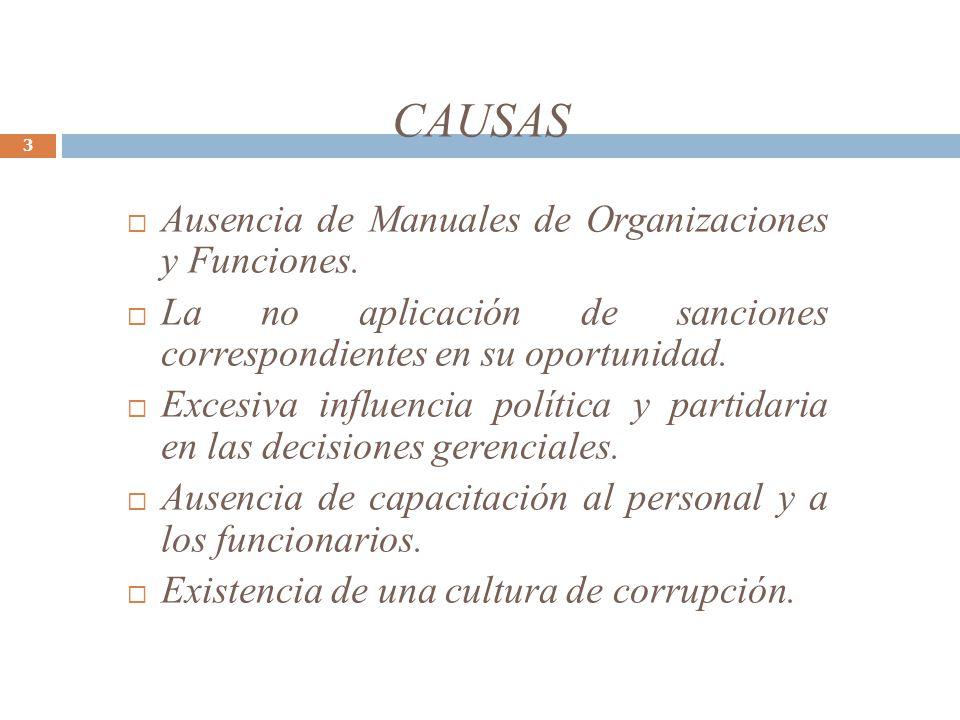 CAUSAS 3 Ausencia de Manuales de Organizaciones y Funciones. La no aplicación de sanciones correspondientes en su oportunidad. Excesiva influencia pol