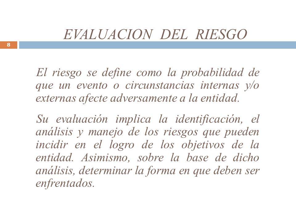 EVALUACION DEL RIESGO 8 El riesgo se define como la probabilidad de que un evento o circunstancias internas y/o externas afecte adversamente a la entidad.