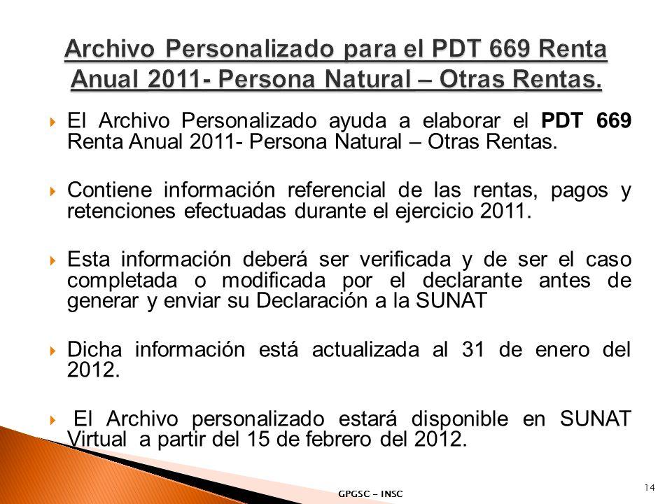 El Archivo Personalizado ayuda a elaborar el PDT 669 Renta Anual 2011- Persona Natural – Otras Rentas. Contiene información referencial de las rentas,