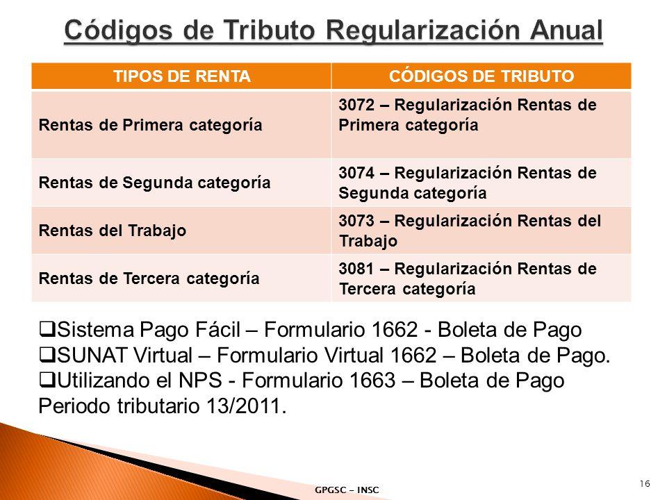 TIPOS DE RENTACÓDIGOS DE TRIBUTO Rentas de Primera categoría 3072 – Regularización Rentas de Primera categoría Rentas de Segunda categoría 3074 – Regu