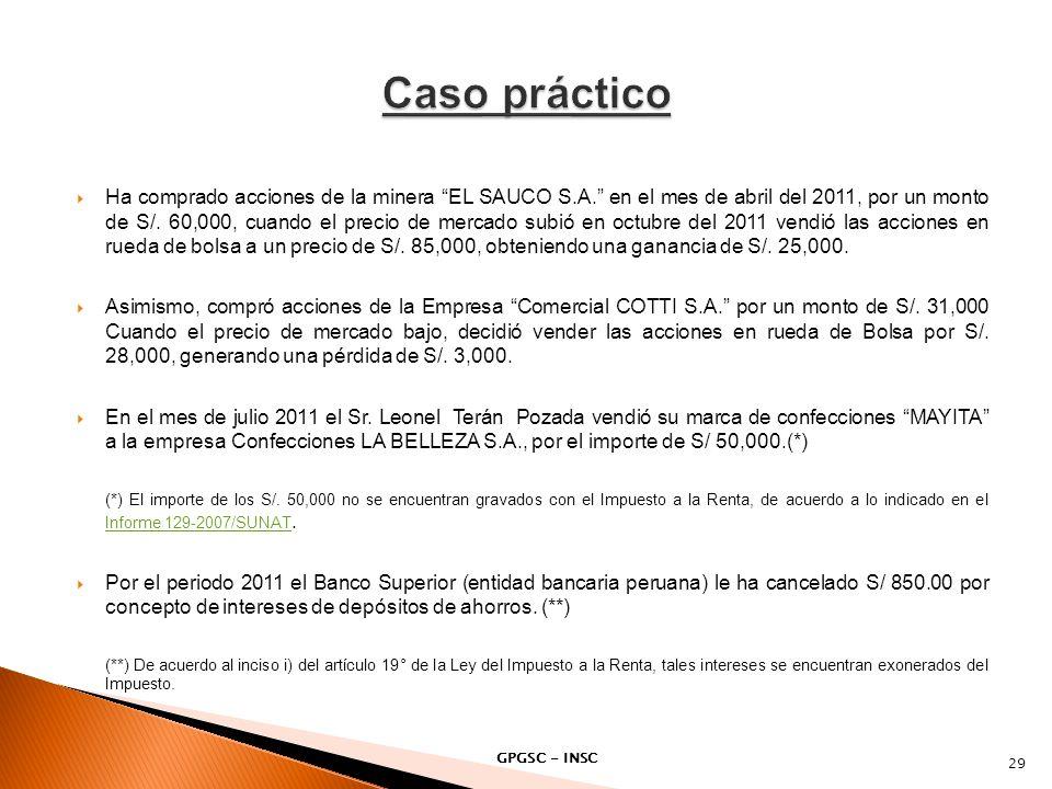 Ha comprado acciones de la minera EL SAUCO S.A. en el mes de abril del 2011, por un monto de S/. 60,000, cuando el precio de mercado subió en octubre
