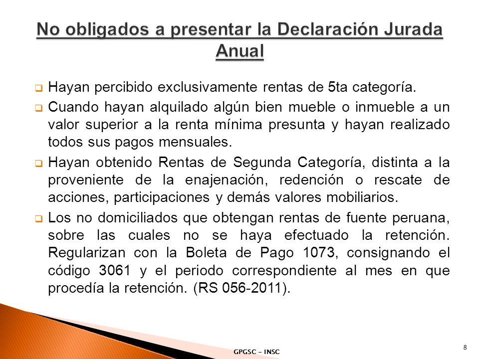 PDT 669 - Persona Natural - Otras Rentas Formulario Virtual N° 669 - Simplificado Renta Anual 2011 - Persona Natural.