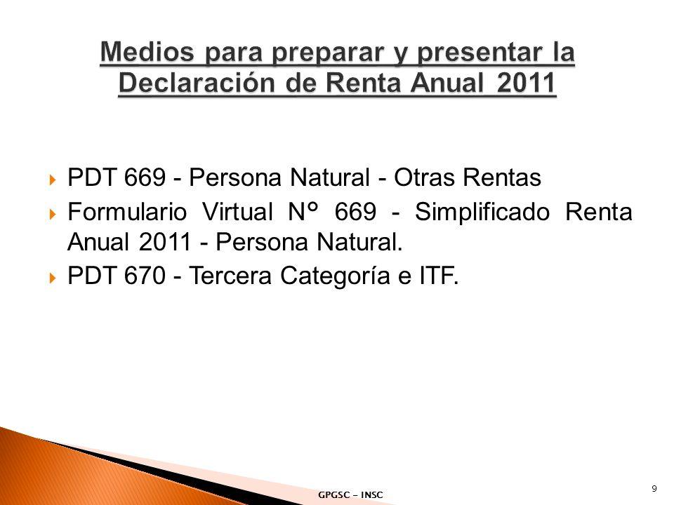 PDT 669 - Persona Natural - Otras Rentas Formulario Virtual N° 669 - Simplificado Renta Anual 2011 - Persona Natural. PDT 670 - Tercera Categoría e IT