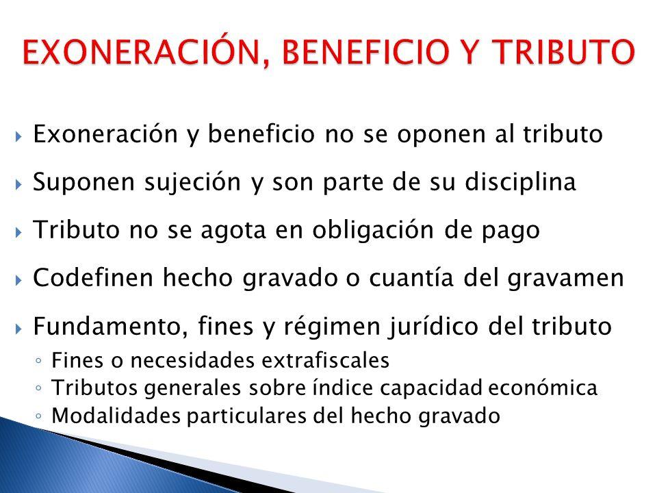 Exoneración y beneficio no se oponen al tributo Suponen sujeción y son parte de su disciplina Tributo no se agota en obligación de pago Codefinen hech