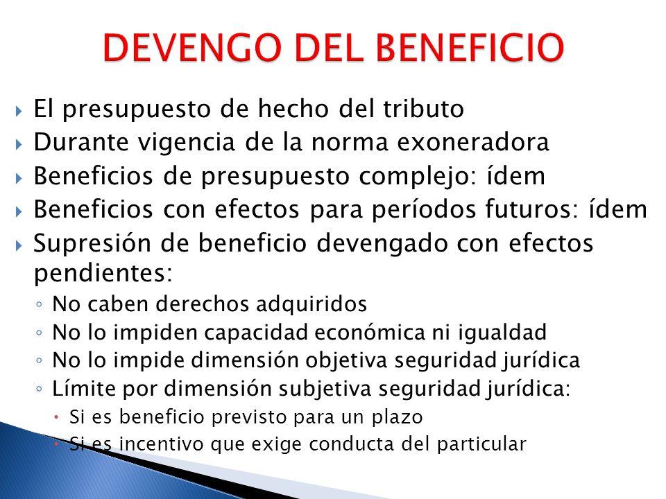 El presupuesto de hecho del tributo Durante vigencia de la norma exoneradora Beneficios de presupuesto complejo: ídem Beneficios con efectos para perí