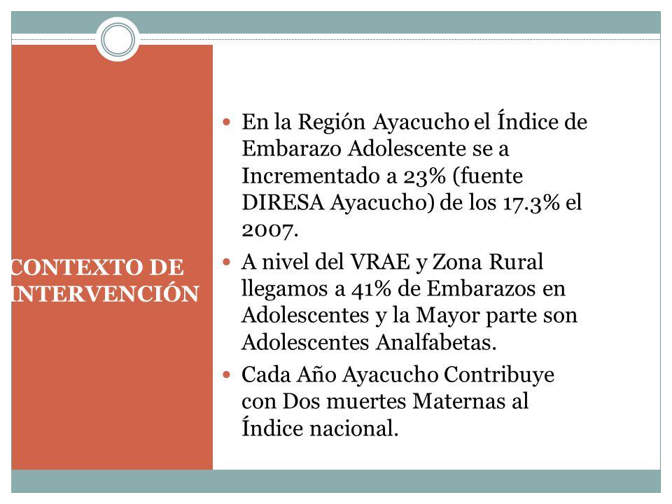 CONTEXTO DE INTERVENCIÓN En la Región Ayacucho el Índice de Embarazo Adolescente se a Incrementado a 23% (fuente DIRESA Ayacucho) de los 17.3% el 2007.
