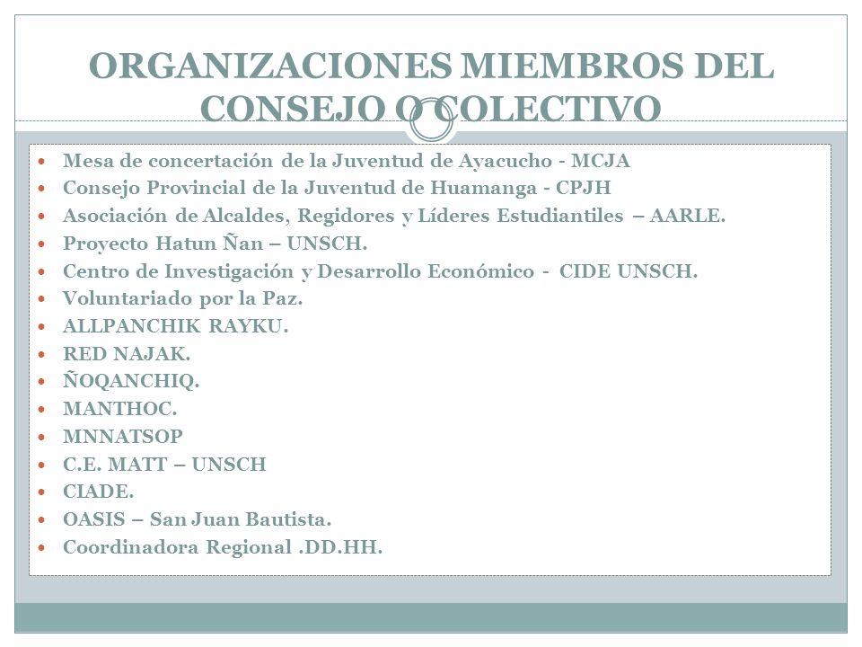 ORGANIZACIONES MIEMBROS DEL CONSEJO O COLECTIVO Mesa de concertación de la Juventud de Ayacucho - MCJA Consejo Provincial de la Juventud de Huamanga - CPJH Asociación de Alcaldes, Regidores y Líderes Estudiantiles – AARLE.