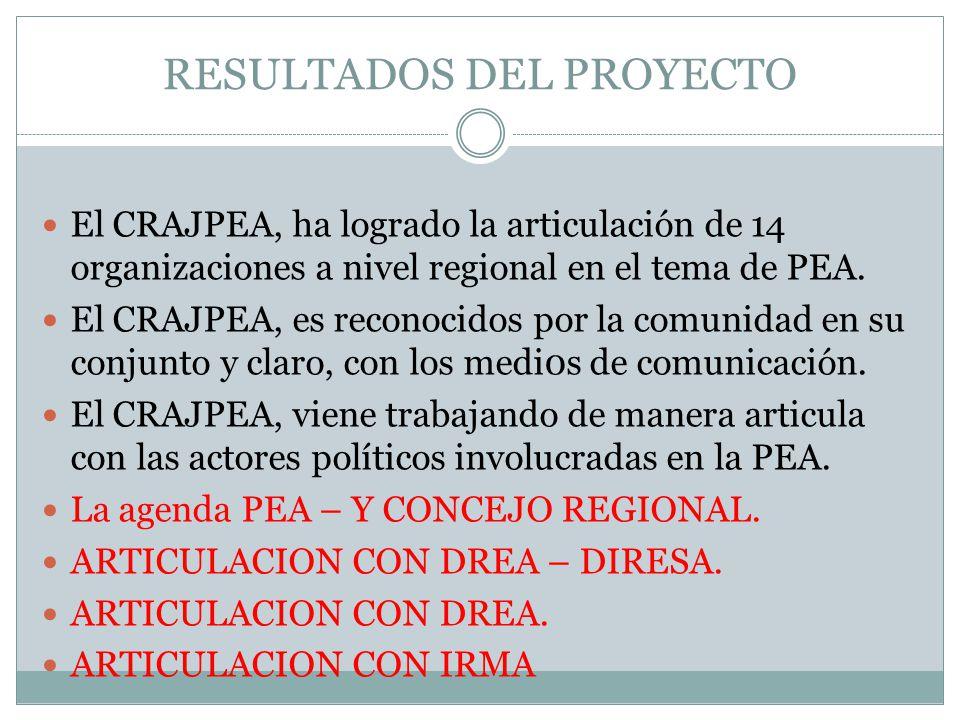 El CRAJPEA, ha logrado la articulación de 14 organizaciones a nivel regional en el tema de PEA.