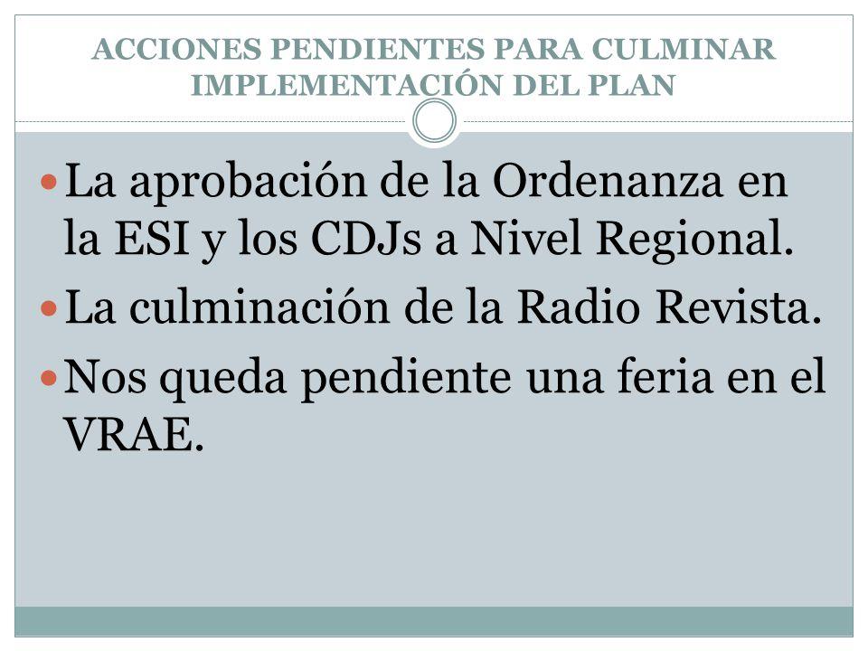 ACCIONES PENDIENTES PARA CULMINAR IMPLEMENTACIÓN DEL PLAN La aprobación de la Ordenanza en la ESI y los CDJs a Nivel Regional.