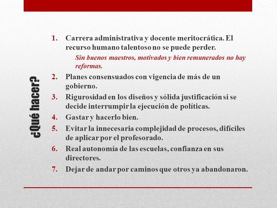 ¿Qué hacer. 1.Carrera administrativa y docente meritocrática.