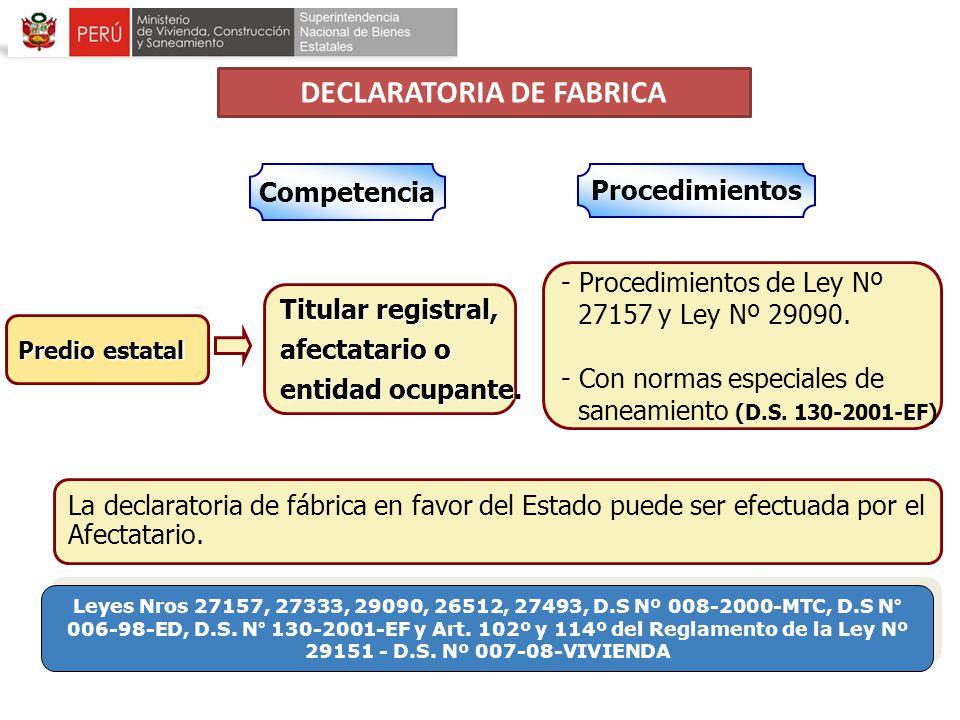 Competencia Titular registral, afectatario o entidad ocupante. - Procedimientos de Ley Nº 27157 y Ley Nº 29090. - Con normas especiales de saneamiento